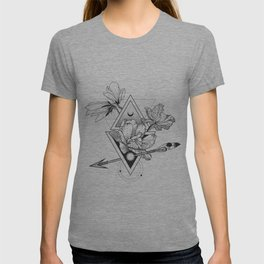 Alchemy symbol with moon and flowers T-shirt