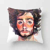 tom selleck Throw Pillows featuring Tom by Maddy