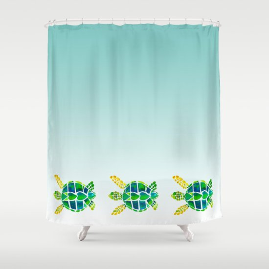 Swimming baby sea turtles shower curtain by catherine Swimming pool shower curtain