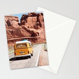 Red SouthWest Desert Roadtrip in Yellow V W Camper Van - USA Stationery Cards