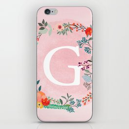 Flower Wreath with Personalized Monogram Initial Letter G on Pink Watercolor Paper Texture Artwork iPhone Skin