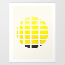 Watercolor Colorful Yellow Minimalist Mid Century Modern Square Matrix Geometric Pattern Round Circl Art Print