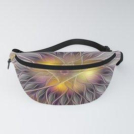 Luminous Flower, Abstract Fractal Art Fanny Pack