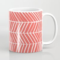 herringbone Mugs featuring Coral Herringbone by Cat Coquillette