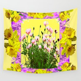 YELLOW DAFFODILS FLOWER GARDEN & PINK POPPIES DESIGN Wall Tapestry