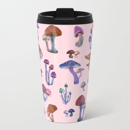 Mushrooms Pink!! Metal Travel Mug