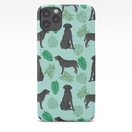 Black Lab summer monstera tropical pure breed dog gifts iPhone Case