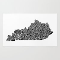 kentucky Area & Throw Rugs featuring Typographic Kentucky by CAPow!