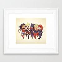 superheros Framed Art Prints featuring Super BFFs by Dooomcat