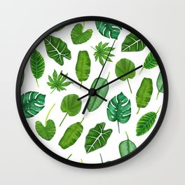 Tropical Palm Monstera Leaves Watercolor Pattern | Jungle Leaves | Tropical design Wall Clock