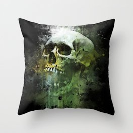 Splashed watercolor skull painting | let's get messy! Throw Pillow