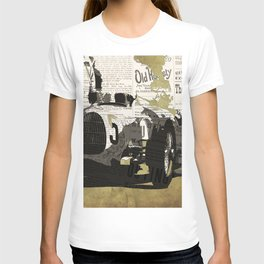 Race car number five, newspaper art collage, Gift For Dad, Gift For Him T-shirt