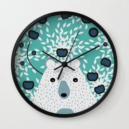 White bear in mint floral rain Wall Clock