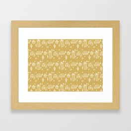 Christmas gift and ornaments Beige and White Framed Art Print