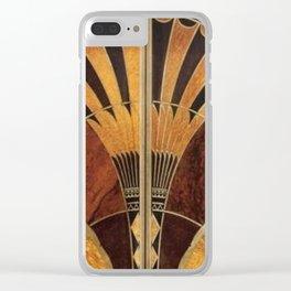 art deco wood Clear iPhone Case