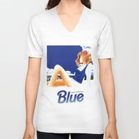 hentai V-neck T-shirts featuring blue 1 by yougo