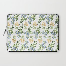 Fresh Blueberries and Yellow Floral Pattern Laptop Sleeve