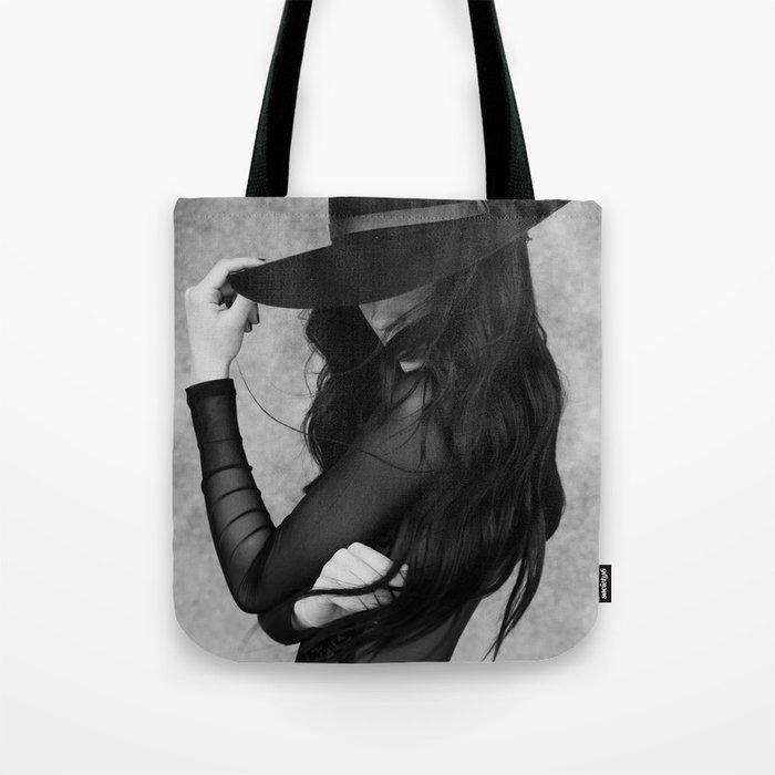 Black hair Tote Bag