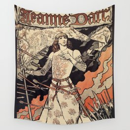 Sarah Bernhardt as Joan of Arc vintage theatre ad Wall Tapestry