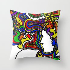 Rainbow Techno Throw Pillow