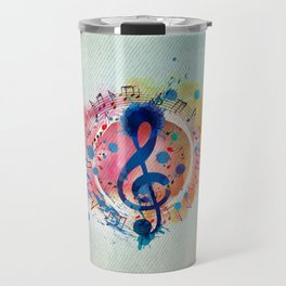 Fun Musical Notes and Treble Clef Paint Splatter Travel Mug