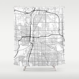 Grand Rapids Map, USA - Black and White Shower Curtain