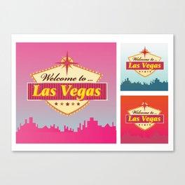 Welcome to Las Vegas. Premium Illustration / pink! Canvas Print