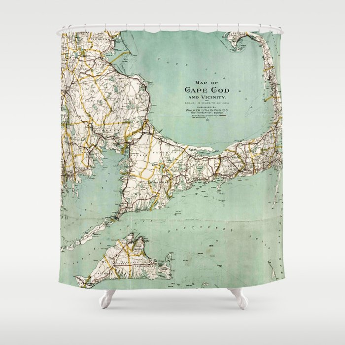cap cod and vicinity map shower curtain by mapmaker society6