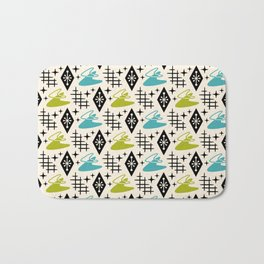Mid Century Modern Boomerang Abstract Pattern Chartreuse and Turquoise 161 Bath Mat