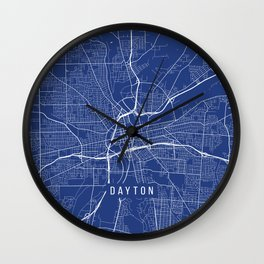 Dayton Map, USA - Blue Wall Clock