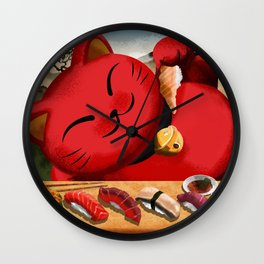 Sushi Cat Wall Clock