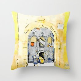 Old woman in courtyard to Tortora Throw Pillow