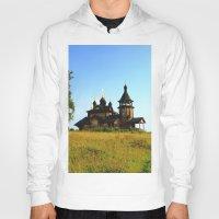 russia Hoodies featuring Wooden Church, Merkushino, Russia by Svetlana Korneliuk