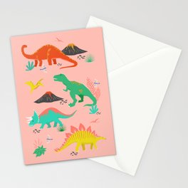 Jurassic Dinosaurs on Pink Stationery Cards