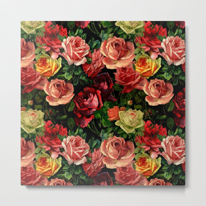 Vintage & Shabby-chic - floral roses flowers rose Metal Print