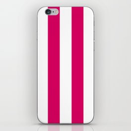 Bright Pink Peacock and White Wide Vertical Cabana Tent Stripe iPhone Skin