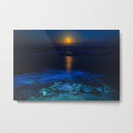La Luna - Yellow Moon over still ocean blue waves color photography / photographs by Jose Navarro Metal Print