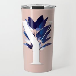 Blue China Palms Letter Y Travel Mug