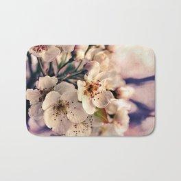 Blossoms at Dusk - vintage toned & textured macro photograph Bath Mat