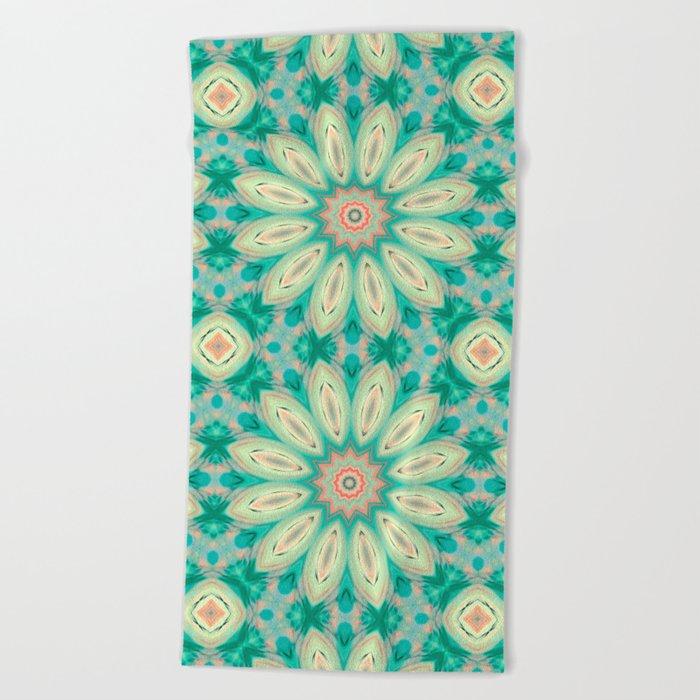 Daisy. Ornament bright turquoise . Beach Towel