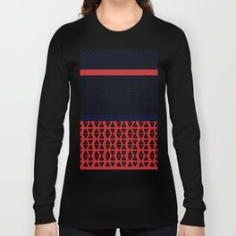 Japanese Style Ethnic Quilt Blue and Red Long Sleeve T-shirt
