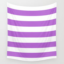 Rich lilac - solid color - white stripes pattern Wall Tapestry