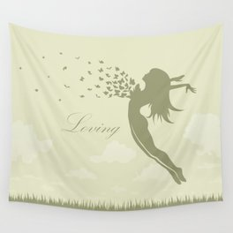 girl with butterflies in a jump Wall Tapestry
