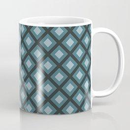 Teal and Gray Zig Zag Square Checker Pattern Coffee Mug