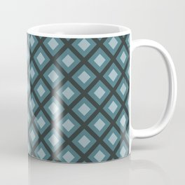 Teal and Gray Zigzag Square Checker Pattern Coffee Mug