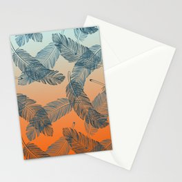 Blue Feathers Pattern Stationery Cards