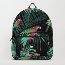 Parrots in the Tropical Jungle Night #1 #tropical #decor #art #society6 Backpack