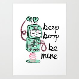 Valentine's Day Robot and Heart Art Print