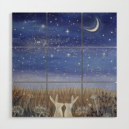 Hares and the Crescent Moon Wood Wall Art