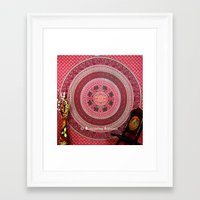 bedding Framed Art Prints featuring  Hippie Tapestry Throw Bedding in Red color by Ved India